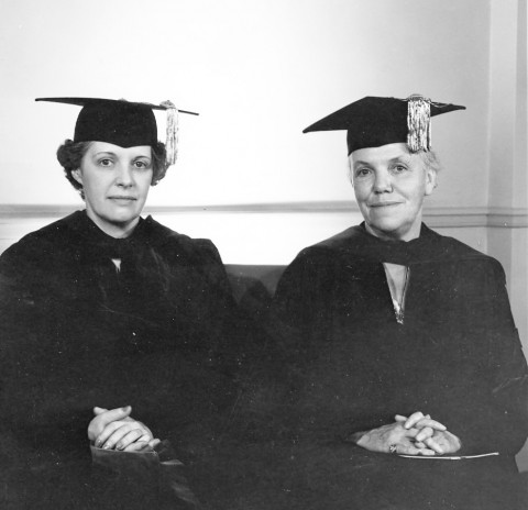 President Dorothy Schaffter (left) with President Katherine Blunt (right), c. 1943. Photograph by Caroline B. Rice, (c/o 1931), New York.