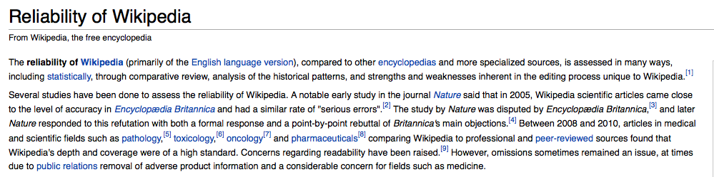 "A screenshot of the first result from a Google search of ""reliability of Wikipedia."""
